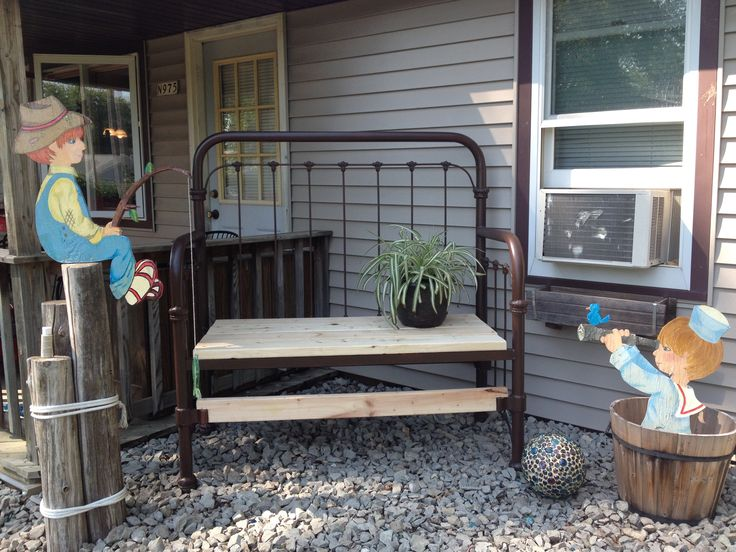 Wrought iron bed frame upcycled to a bench and a few of my for Repurposed metal furniture