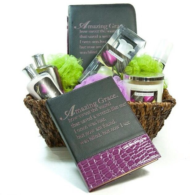 11 best womens gift baskets images on pinterest womens gift black amethyst bible journal spa gift basket negle Image collections