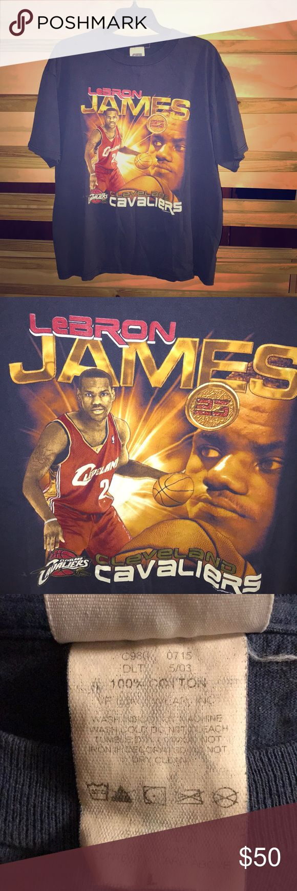 Lebron James Rookie Year Tee LeBron James rookie year T-shirt with the Cleveland Cavaliers. Day on the tag indicates May 2003. Condition 9/10 Lebron James Shirts Tees - Short Sleeve