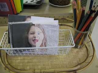 We took close of shots of each child, then cut the pictures in half. The child completes the other side of his or her face.
