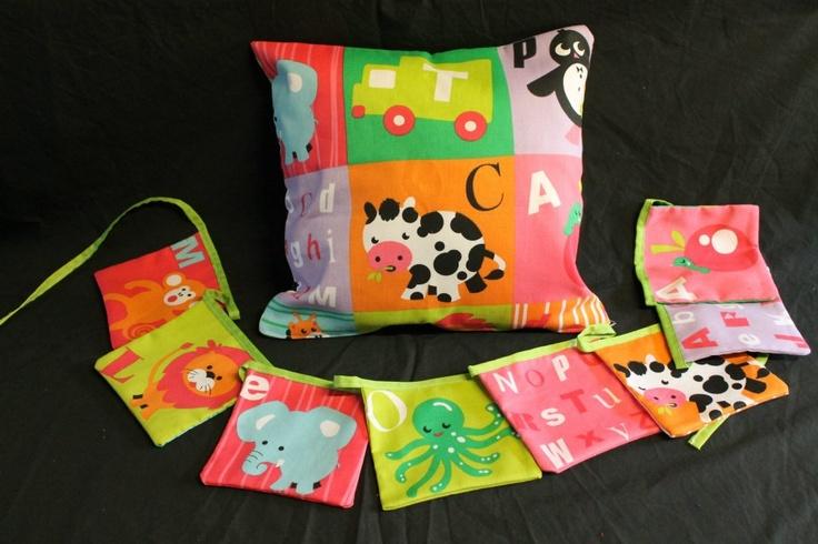 Alphabet Animals Cushion Cover & Bunting  http://www.facebook.com/MadeBySarah