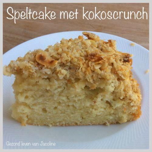 Fluweelzachte speltcake met kokoscrunch     Vandaag moest ik kiezen tussen een grote wasmand met was en strijk of in de keuken staan en...