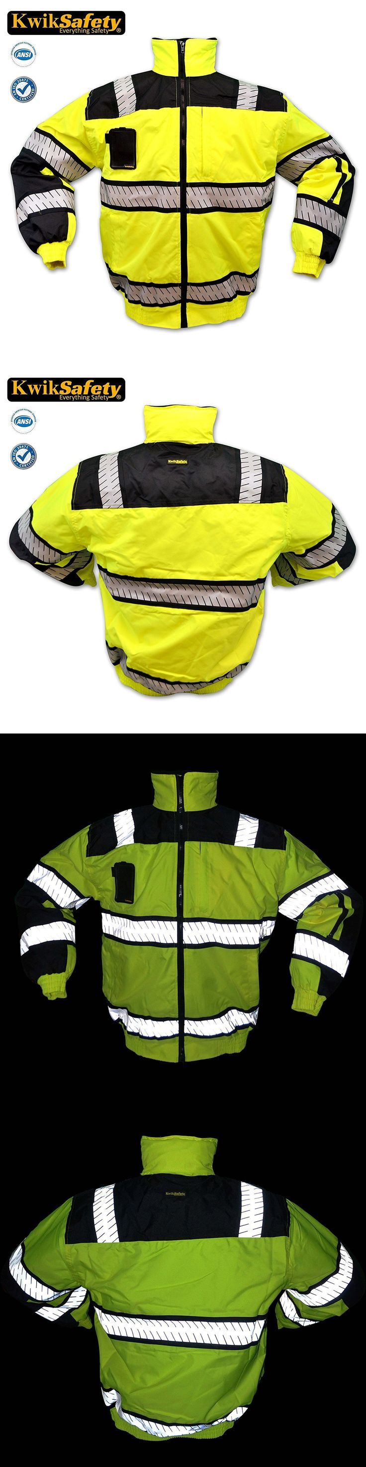 Jackets and Vests 175629: Hi Vis Ansi C 3 Reflective Bomber Safety Jacket Fishbone Waterproof Weatherproof -> BUY IT NOW ONLY: $55.99 on eBay!