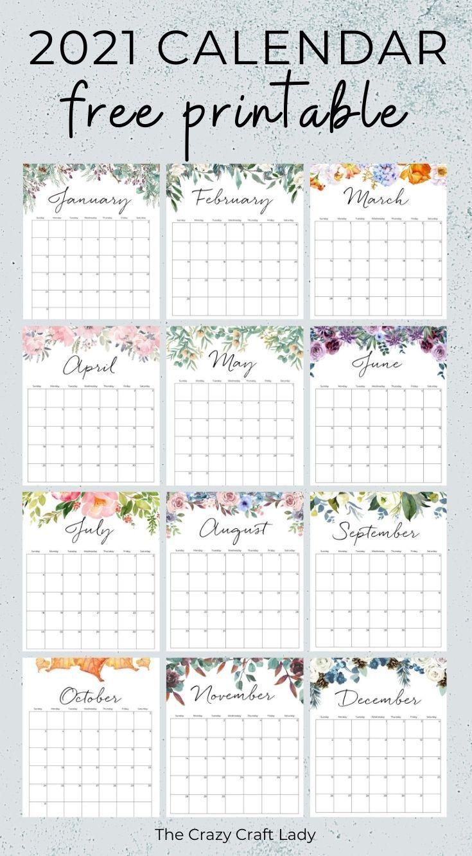 2021 Free Printable Floral Wall Calendar in 2020 ...