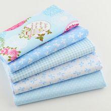 Tela de Algodón 40 cm x 50 cm 5 unids Teramila Azul Fat Quarter Bundle Quilting Patchwork Niños Tejido ropa de Cama de Bebé textil Para Coser(China (Mainland))