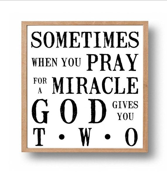 Miracle Baby Quotes: Twin Nursery, Kids Wall Art, Inspirational Quote Print
