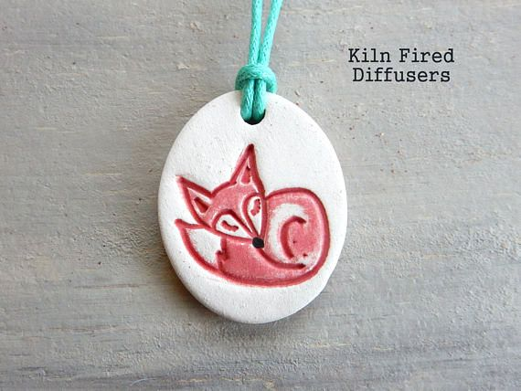 Kids Sleeping Fox Essential Oil Diffuser Pendant Necklace Clay