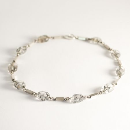 Silver and rutilated quartz collier by Arvo Saarela, Sweden, 1961