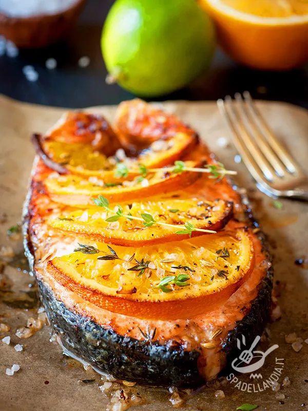 Salmone grigliato all'arancia