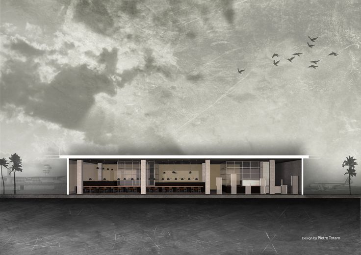 Project for a pizzeria in an airport #architecture #design #project #section #concept #pizzeria #airport