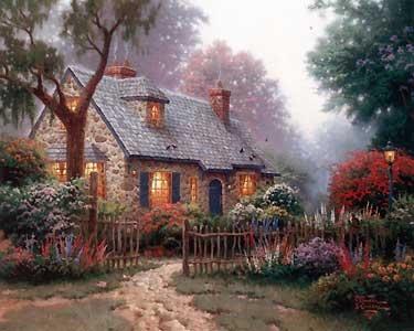 Foxglove Cottage - Thomas Kinkade - World-Wide-Art.com