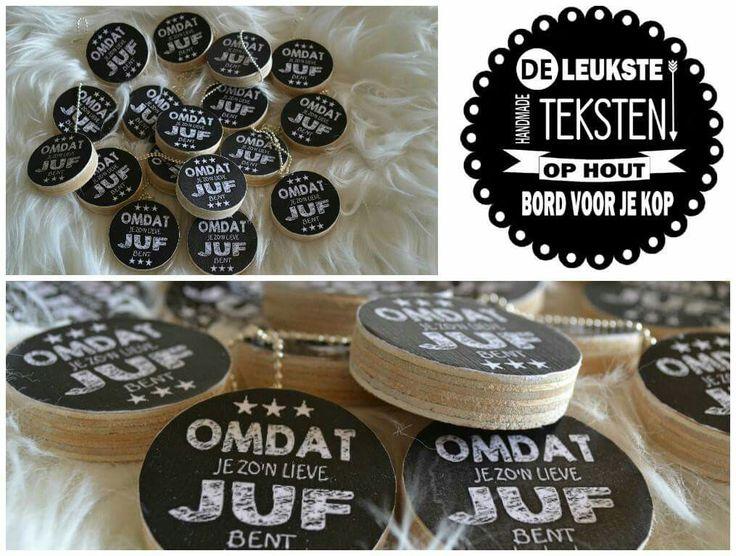 Juf/Meester cadeautjes. Leuke sleutelhangers te bestellen bij www.facebook.com/bordvoorjekop