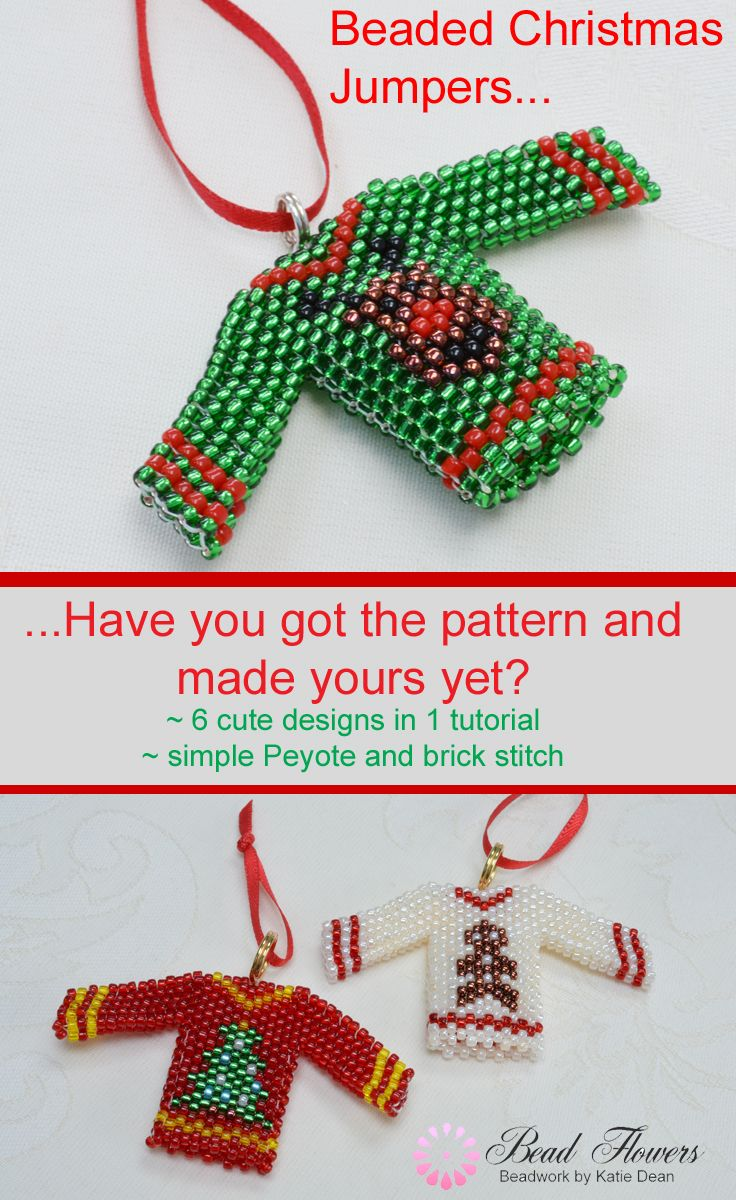 Cuteness overload! This beading pattern gives you six fabulous designs for little Christmas jumpers. Just the right size to use as Christmas tree ornaments. They are made with simple Peyote stitch and brick stitch. Just one more fabulous beading pattern from Katie Dean, Beadflowers!
