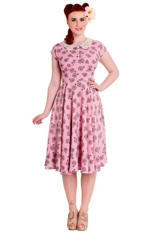 Hell Bunny Penny Lover Dress: Dusty Pink