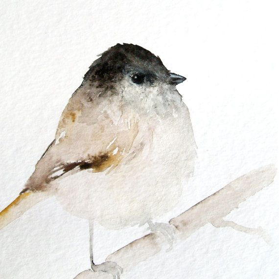 Tiny Brown Bird - Original Watercolor Painting by pumpernickel on etsy. Would be pretty matted, with dark rustic frame