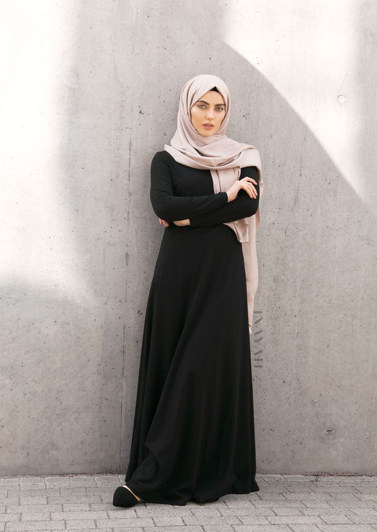 INAYAH | Comfort and clever construction are our mainstay for everyday modest styling.| Black #Abaya with #Flare + Grey Rayon #Hijab -www.inayah.co