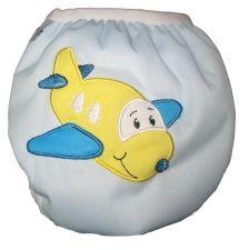 Zwemluier van het merk Monkey Doodlez. Kleur is lichtblauw met een leuke #vliegtuig applicatie.  #baby #zwemluier