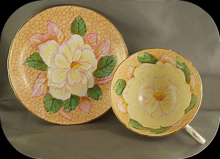 Tuscan Yellow Water Lily o Orange Cup & Saucer 9930 #Tuscan