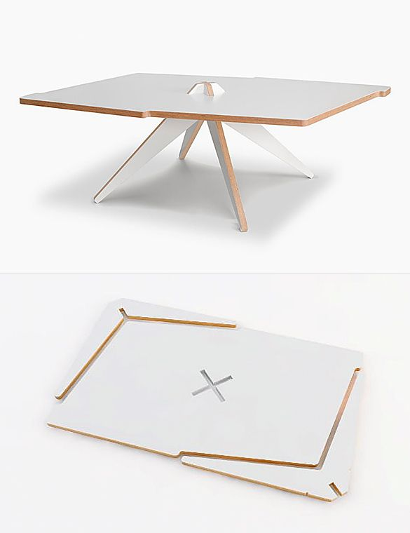 Vic is a flat-pack coffee table made from a single plywood sheet. Its two legs slot easily into the center without the need of any tools or glue.