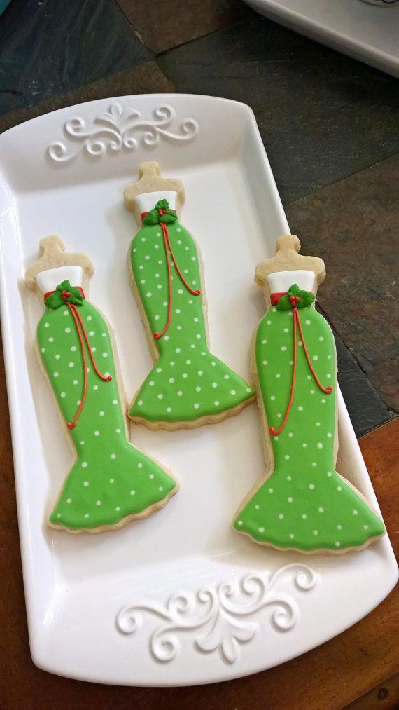 10 Navidad tema Sirena Vestido de galletas-Cookie por MarinoldCakes