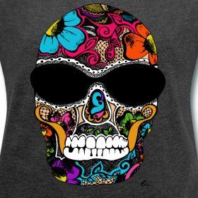 T-Shirt Femme tête de mort en couleur | Elodie Aleton : La boutique pour les petits et les grands