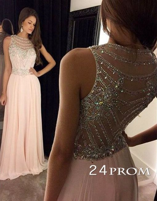pink sequin long prom dress modest,unique long prom dress for teens, prom dresses 2016,plus size evening dress