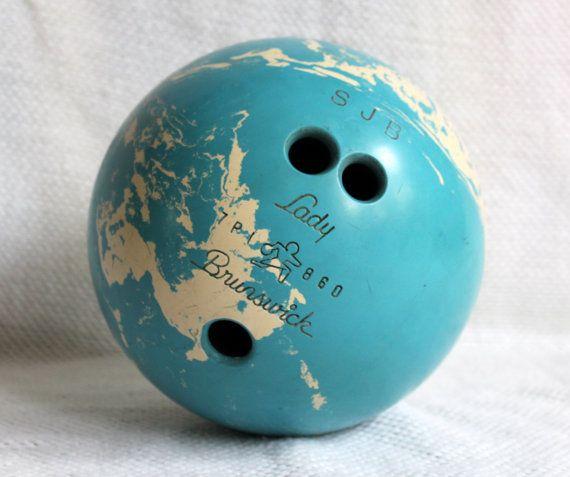 Lady Brunswick Bowling Ball 15 Lbs Blue White Marble