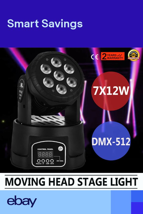 7 x 12W RGBW Beam LED Moving Head Stage Lighting DMX512 DJ Disco Club Light