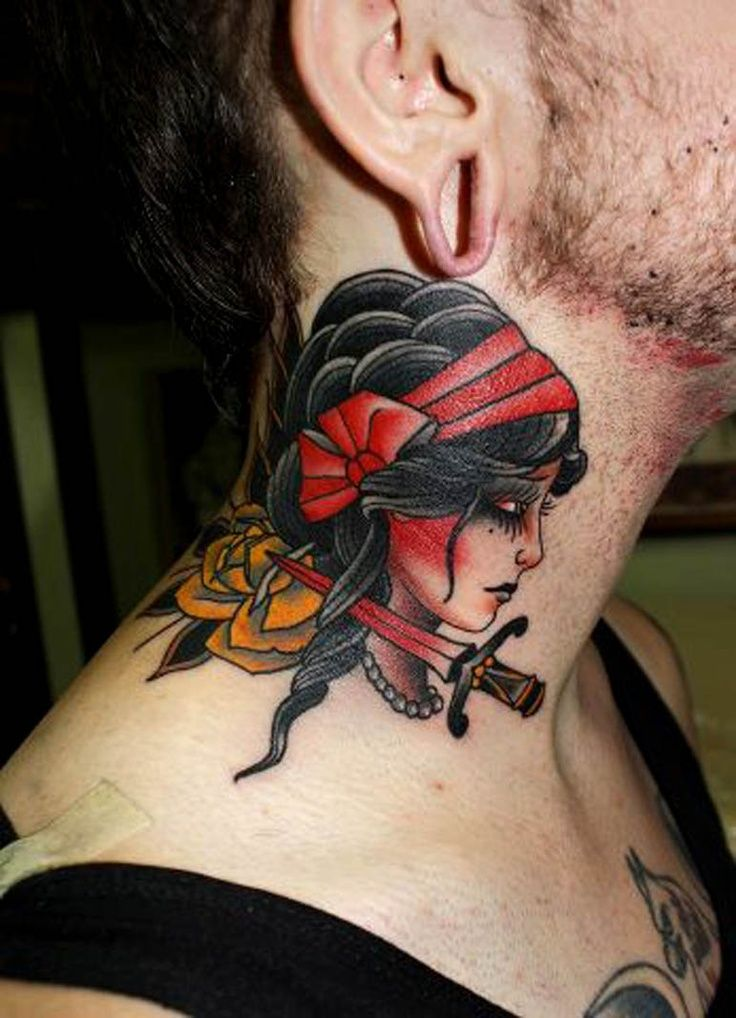 Mens neck tattoo with beautiful princess looking woman for Tattoos for neck
