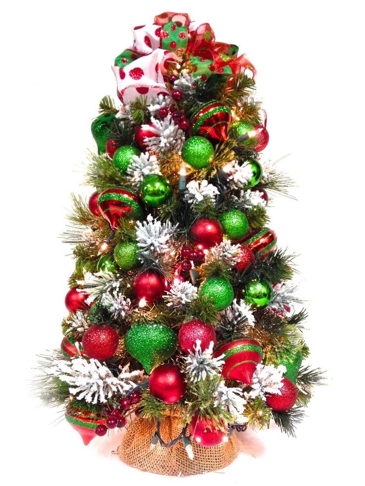 Sold new tabletop christmas tree pre lit red green white for White tree red ornaments