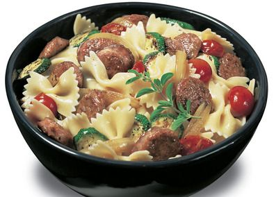 Johnsonville Bowtie Pasta - I used regular tomatoes because that's what I had on hand and used 2 zucchini.  It was FANTASTIC.  I also added some Italian seasoning, garlic salt, and Italian Three Cheese.  I have to make this again.