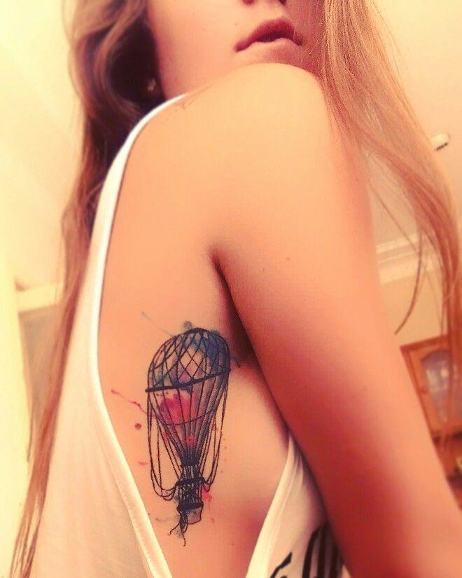 Watercolour Hot Air Balloon tattoo, Red dragon tattoo parlour, Toronto Canada.