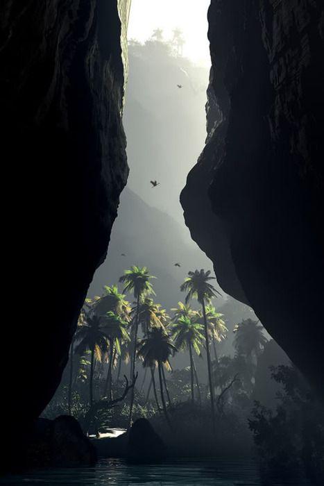 Secret valley: Jurassic Parks, Jurassicpark, Jungles, Beautiful, Caves, Palms Trees, Places, Travel, Heavens