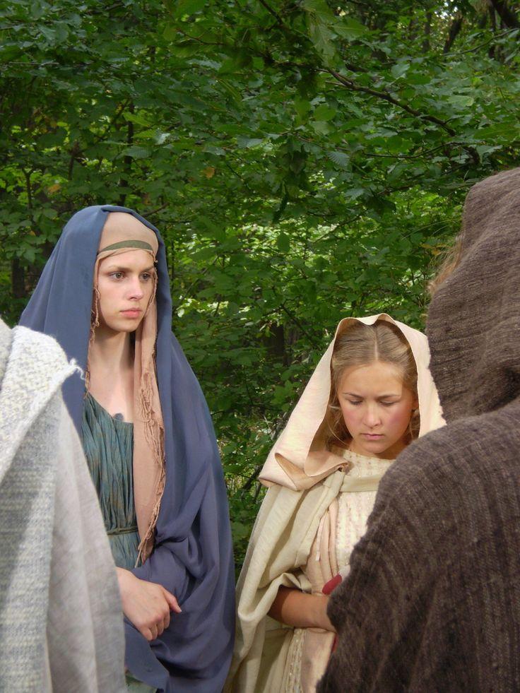 "Rosa Hoskins as Hephzibah and Francesca Isherwood as Flavia film ""The Slave-girl from Jerusalem"" at Boyana Studios, Bulgaria, Sept 2007"