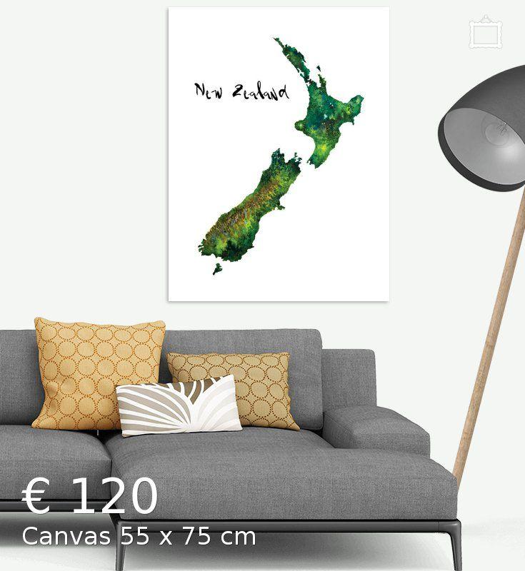Nieuw Zeeland - Landkaart in Aquarel - Adventure