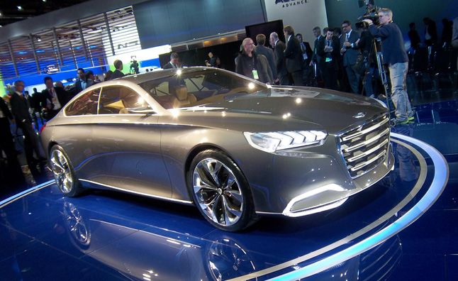 2014 Hyundai Genesis Sedan Previewed in Wild HCD-14 Concept. For more, click http://www.autoguide.com/auto-news/2013/01/2014-hyundai-genesis-sedan-previewed-in-wild-hcd-14-concept.html