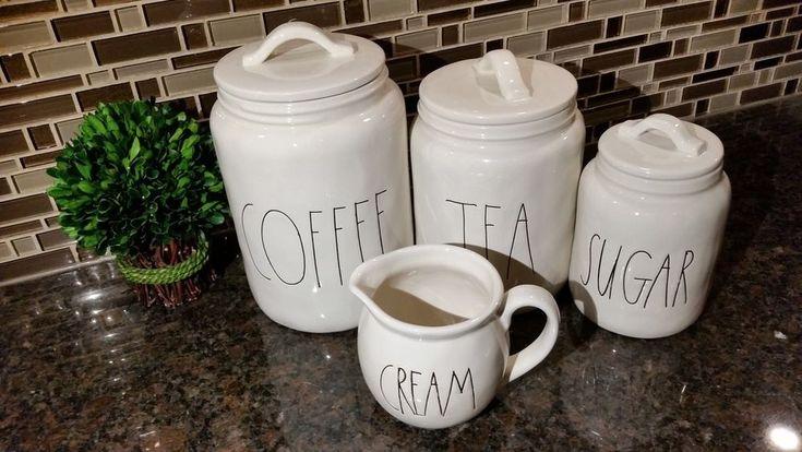 NEW RAE DUNN MAGENTA, INC COFFEE, TEA, SUGAR CANISTER CREAM DISH VHTF RARE #MagentaInc