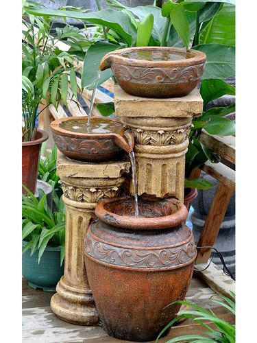 Classic And Column Water Fountain With Led Light   Garden Fountains U0026 Outdoor  Decor