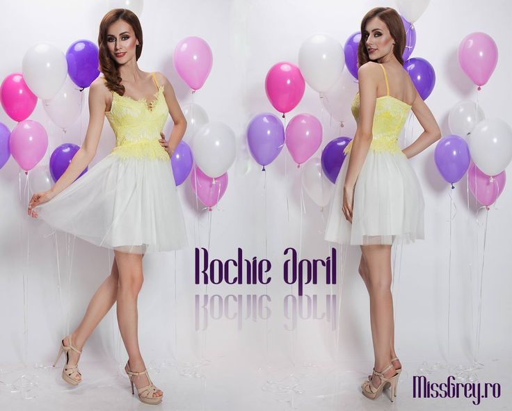 Short occasion dress with yellow lace and white tulle, for a spectacular appearance at your most special events: https://missgrey.ro/ro/vara/rochie-april/323?utm_campaign=colectie_mai&utm_medium=rochie_april&utm_source=pinterest_produs