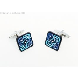 Blue Labyrinth Cufflinks: Mother of Pearl & Onyx - Dyed blue mother of pearl with onyx stripes.