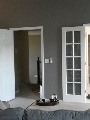 Sherwin Williams Dovetail Gray - I seriously Love this....add purple or pink for a girl and blue for a boy.....doing one color like that could mean starting on the room before the gender is revealed.