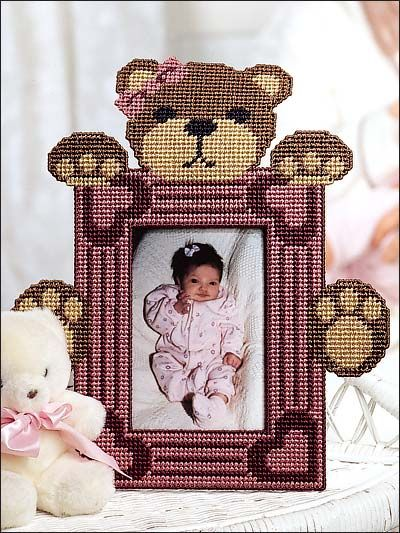 Plastic Canvas - Patterns for Children & Babies - Nursery Decor Patterns - Teddy Bear Love Frame