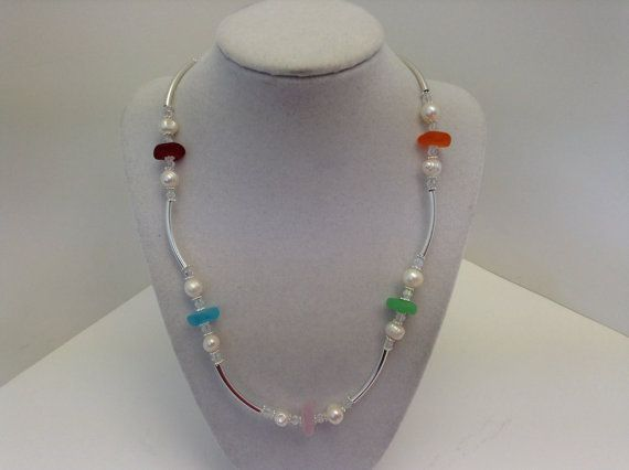 Multicolour Sea Glass And Pearl Necklace by kathyv552 on Etsy, $28.00