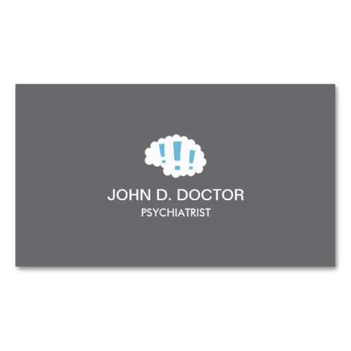 Modern gray psychiatrist business card with brain. This is a fully customizable business card and available on several paper types for your needs. You can upload your own image or use the image as is. Just click this template to get started!