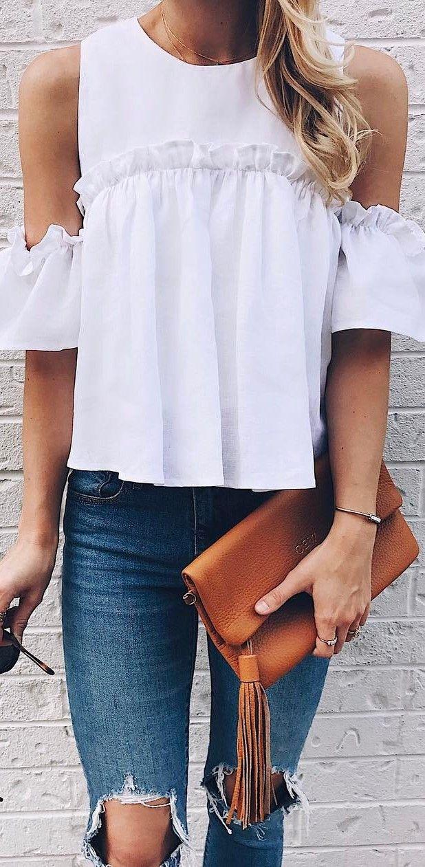 trendy summer ootd white top + bag + rips
