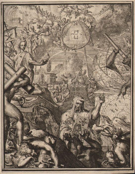 Romeyn de Hooghe (1645-1708) - Astrologia in Egypte - Ca. 1680  1750 x 14 cm op plaat grensMet volledige plaat grens en marges op laid papier loopvlak.Sterke indruk goede conditie. Blijft van voormalige storten op een album-vel aan de achterzijde van het blad in de hoeken.We zien een Nubian met een telescoop diverse globes van de hemel piramides en een twee-headed occulte wetenschapper.Dit is een ETS van Romeyn de Hooghe gepubliceerd in 'Hieroglyphica van merkbeelden der oude volkeren'…