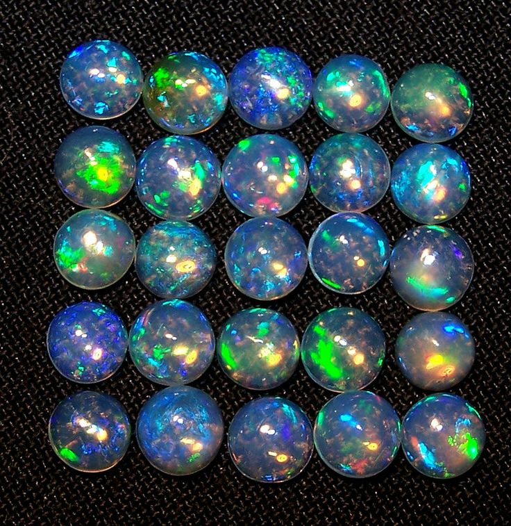 Insane Electric Blue Flashy Play 5 MM Natural Ethiopian Welo Opal Round Cabochon