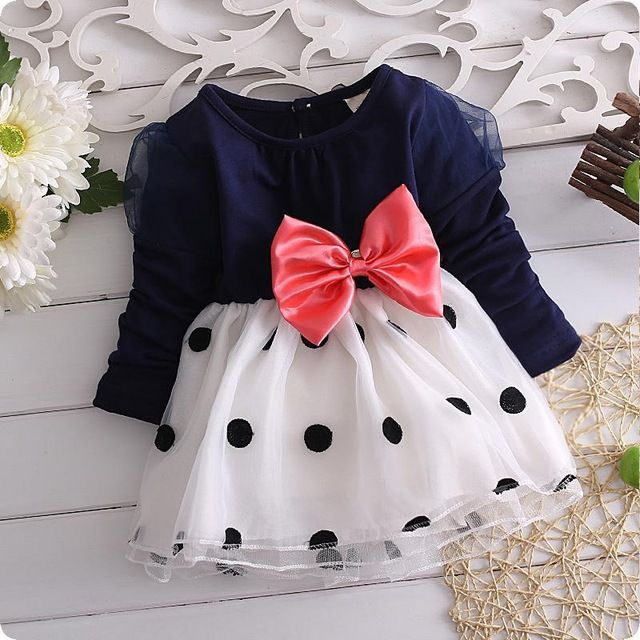 Vestido del bebé, nuevo 2014, vestidos para niñas, bebe, recién nacido, muchachas de los niños del bowknot de manga larga vestido de la princesa, Baby girl clothes