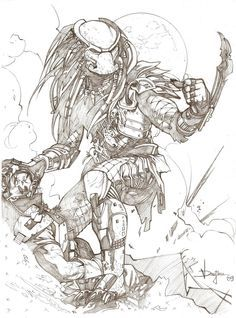 predator vs jason coloring pages - photo#38