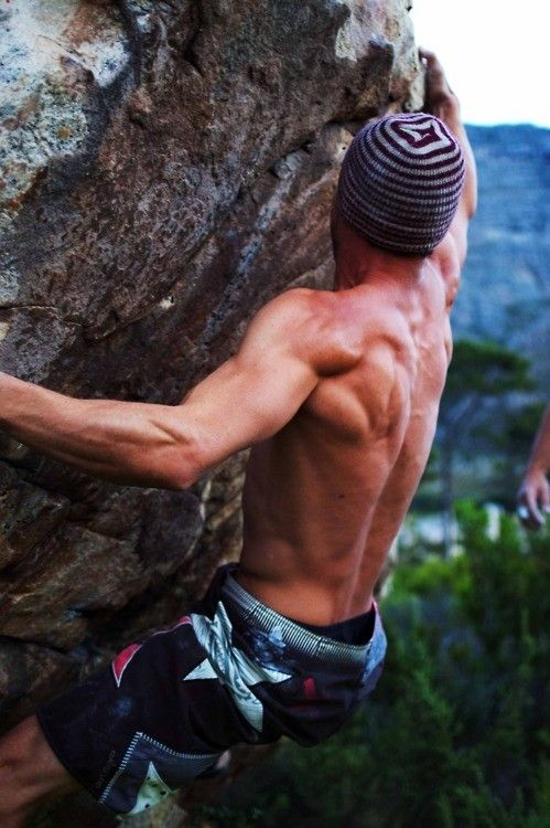 I thought this was pretty sexy and daring.. and then I saw the other arm, so I don't think he's that far off the ground! But I can't wait until we can trust our strength enough to rock climb outdoors.